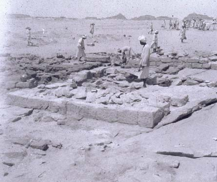 Arminna West: Excavated Foundations of a Meroitic Pyramidal Tomb in Cemetery AWB in 1963 (Dorian Fuller -- University College London)
