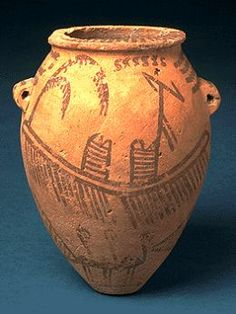 Decorated ware with boats with standards from the Gerzean period. These decorated vessels represent the beginning of painting in Egypt