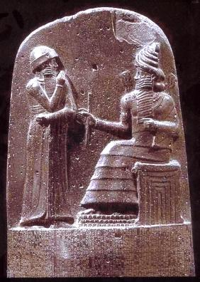 Hammurabi -- Sixth King of the Amorite Dynasty of Old Babylon -- Stele Featuring Hammurabi Coming Before the God Shamash