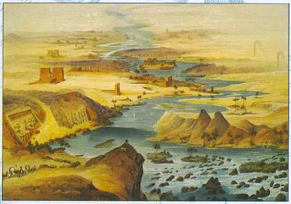 The long winding Nile Valley is ideally suited to the bird's-eye view typical of the nineteenth century such as this panorama ranging from Abu Simbel to the Pyramids ..... Executed by the French artist Nestor L'Hote and taken from his volume Panorama d'Egypte et de Nubie published in 1841 ..... Plate: The Discovery of the Nile -- Gianni Guadalupi -- Chartwell Books -- ISBN: 0-7858-1527-9