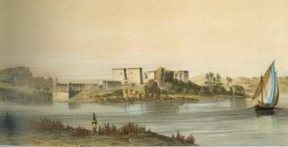The island of Philae, not far from Aswan, with its great monumental complexes dedicated to the cult of Isis was considered to be one of the most sacred sites of Ancient Egypt. This evocative illustration is taken from Views of the Nile by Owen Jones (1843) -- Plate: The Discovery of the Nile -- Gianni Guadalupi -- Chartwell Books -- ISBN: 0-7858-1527-9