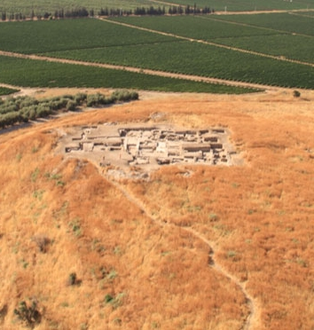 A panoramic view of the tell in 2010 shows the completely excavated complex (Archaeological Institute of America)