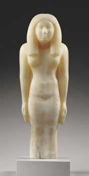 Standing Woman : Early Fourth Dynasty : Circa 2570 BC : Egyptian Alabaster with Faint Remains of Paint : Trustees of the British Museum in London (The Metropolitan Museum of Art)